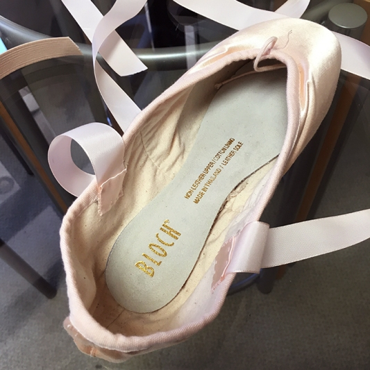 Sewing Pointe Shoe Ribbon Running Stitch
